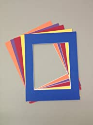 Pack of 5 18x24 Picture Mats, 5 Bright Colors, with White Core Bevel Cut for 13x19 Pictures