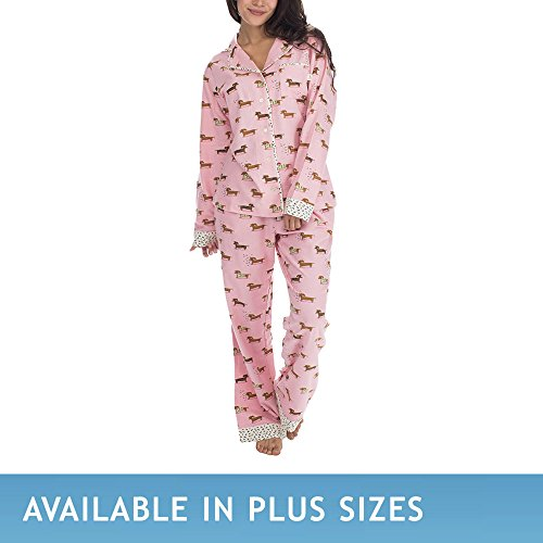 Dog Print Pajama (Munki Munki Women's Classic Flannel Set, Puppy Dog,)
