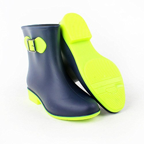 fashion short cylinder Buckle Ms Rain boots Green LUCOIBWg3