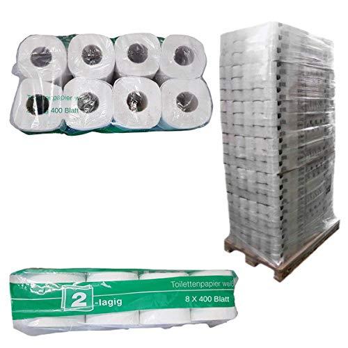 Palet toiletpapier, grote verpakking, 2-laags, kleine rollen, wc-papier, natuurlijk wit, 250 vellen per rol, 33 x 64…