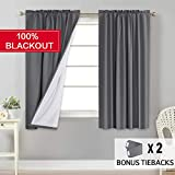 Flamingo P 100% Blackout Grey Curtains for Bedroom Curtains 63 inch Long, Thermal Insulated Rod Pocket Cotton Finishing Curtains, 2 Panels, 2 Bonus Tie-Backs