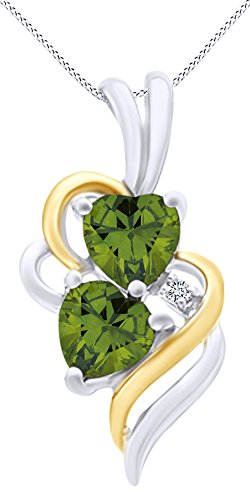 (AFFY Simulated Peridot & White Cubic Zirconia Double Swirl Heart Two Tone Pendant Necklace in 14k White Gold Over Sterling Silver)