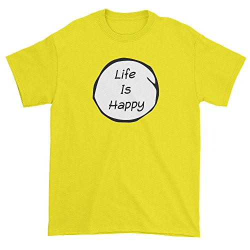 Expression Tees Mens Life Is Happy - Smile T-Shirt Large (Happy Shirts T-shirt Sweatshirt)