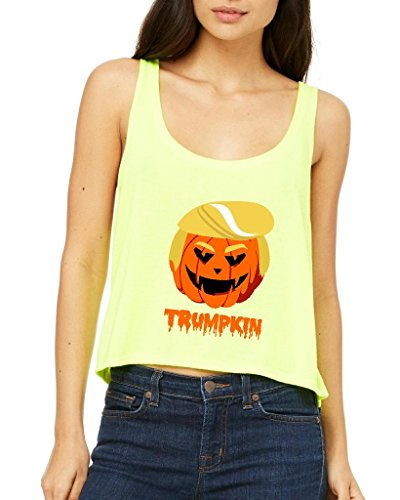 Xekia Trumpkin Donald Trump Halloween Costume Fashion People Best Friend Gifts Women Boxy Tank Top Clothes Small Neon (Yellow Cat Costume Contact Lenses)