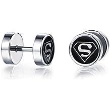 Superman Earring Studs for Women Girl Men - Stainless Steel Jewelry Gift