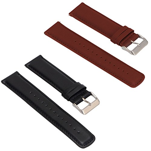 2Pack Replacement Leather Bands for Fossil Q Founder Gen 2 Touchscreen/Fossil Gen 4 Q Explorist HR/Fossil Q Men's Gen 3 Explorist Smartwatch Strap Wrist Band