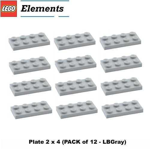 Lego Parts: Plate 2 x 4 (PACK of 12 - LBGray) Baxter Moc