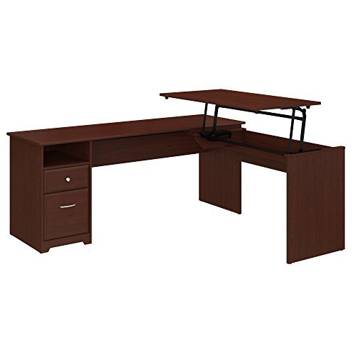 (Bush Furniture Cabot 72W 3 Position L Shaped Sit to Stand Desk in Harvest Cherry)