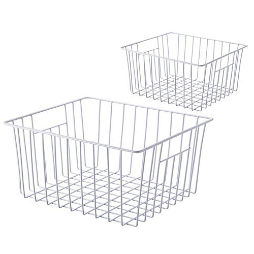 SANNO Freezer Wire Storage Organizer Baskets, Household Refrigerator Bin with Built-in Handles for Cabinets, Pantry, Closets, Bedrooms - Set of 2 (Freezer Accessories)