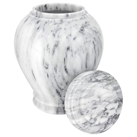 Silverlight Urns Wave Gray Marble Cremation Urn, Natural Stone Urn for Ashes, Adult Size, 10.5 Inches Tall