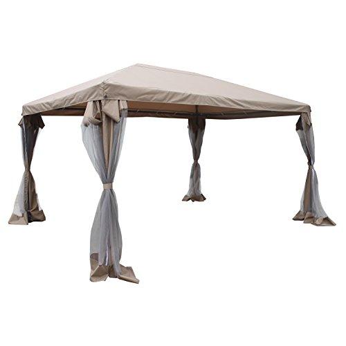 ALEKO GZBM06 Gazebo Canopy with Removable Netting Mesh Walls 10 x 13 x 8.5 Feet Tan