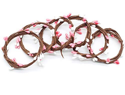 Alasida Handcrafts Woven Napkin Rings- twig Bud Design Napkin Rings Wedding Decoration, Set of 6 (Pink)