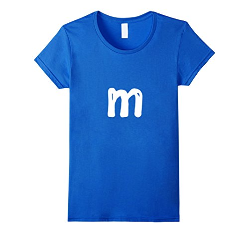 Womens Monogram Letter M Lowercase m T-Shirt Learn Alphabet Small Royal Blue - Daycare Worker Costume