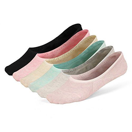 Women's No Show Socks Invisible Hidden Liner Non Slip Low Cut Colorful Cotton Socks (6 Pairs- 6colors /One Pair for Each Color)