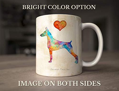 German Pinscher Dog Breed Mug by Dan Morris, Personalize with Dog Name ()
