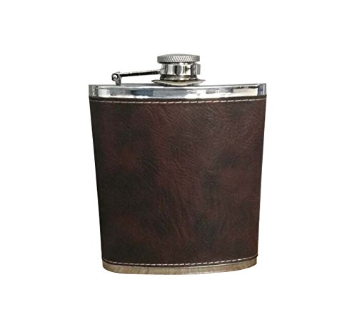 Panda Superstore [LETHER] Creative Hiking/Camping Stainless Steel Hip Flask, 7oz by Panda Superstore