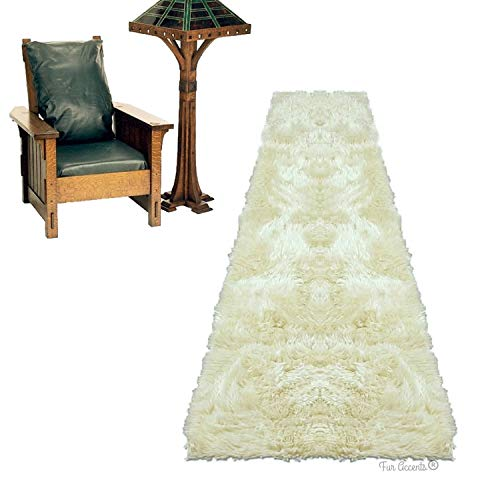 Shag Carpet - Extraordinary Faux Fur Rug - Accent - Area Rug - Throw Rug and Design - Hand Made in The USA (2'x5', Beige)