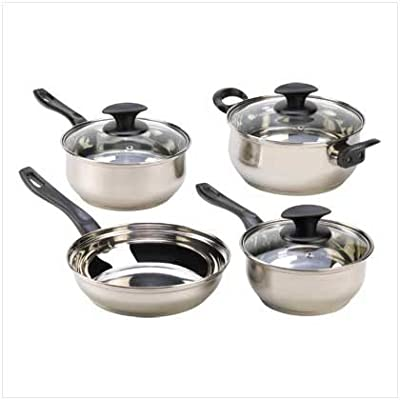 Home Kitchen Stainless Steel Cookware Set Best Restaurant Specialty Healthy Cast Iron Skillet Pot Sauce Pan W/ Lid Cookware Craft (Set of 7)