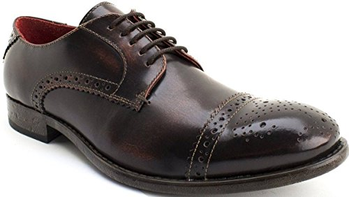 Base London Campbell Hi Glans Tan Leer Heren Formele Brogue Casual Schoenen