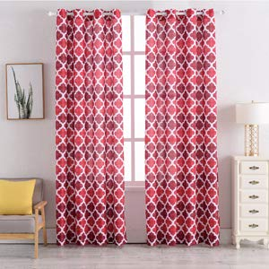 63 inch Print Curtains Lattice Geometric printed textured Window Treatments Set for Living Room Drapery (Red, Set of 2 Panels)