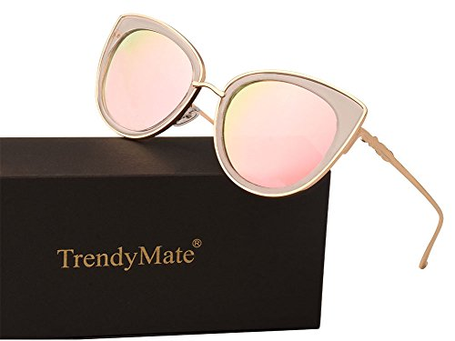 TrendyMate Women Metal Cute Cat Eye Sunglasses Mirror Lens Coating Sunglasses Fashion Eyewear (pink, - Cute Mirrored Sunglasses