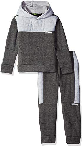 (RBX Boys' Toddler' Pullover Fleece Hoodie and Jogger Set, Charcoal Grey Heather, 4T )