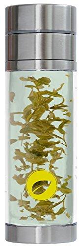 tea exclusive - Thermo-Teebereiter, doppelwandig für mehrfachen Aufguss (auch für unterwegs), 320ml (Teekanne, Trinkflasche, Teezubereiter, Teebecher, Tea Maker to go, Tee-Glas)