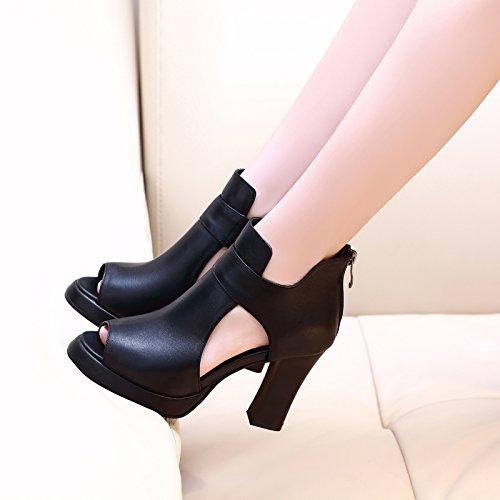 SHOESHAOGE Boca De Pescado Sandalias Zapatos De Tacón Expuestos Romano Taiwán Impermeable Grueso con Frío Botas Zapatos De Mujer EU35/UK41