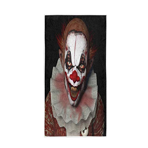 Pinbeam Bath Towel Scary Scarier Clown Sharp Pointy Teeth Glaring at Towel Beach Towel