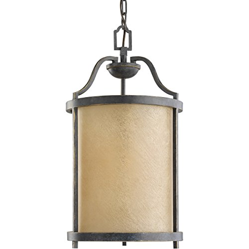 Sea Gull Lighting 51520-845 Pendant with Creme Parchment Glass Shades, Flemish Bronze Finish -