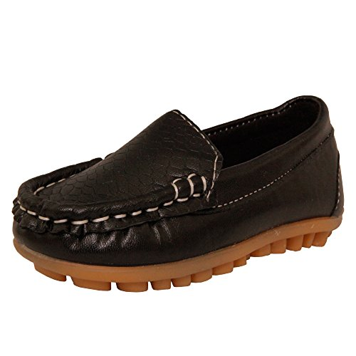 Kids Conda Boys & Girls Black Loafers Water Resistent Slip On Split Leather Boys & Girls Oxfords - Deck Shoes / Sneakers Size 9 M US Toddler