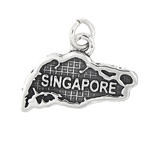 Map Usa Sterling Silver Charm - Sterling Silver Oxidized Map of Singapore Travel Charm