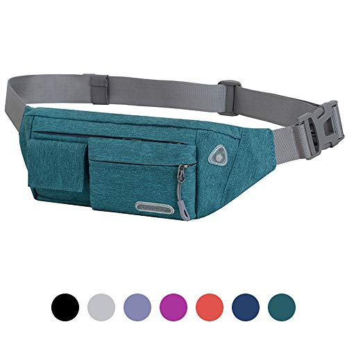 Moyeno Workout Fanny Packs for Women Men Waterproof, Phone Fanny Pack, Medical Pack Lightweight, Soft Fabric Adjustable for Outdoors Traveling Casual Running Hiking Cycling-Green