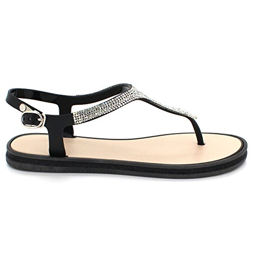 Plat Taille Post Pantoufle Été Toe Soir Dames Chaussures léger Sandales des Poids Diamante Doux Décontractée Femmes Noir Slingback qapwHfXn