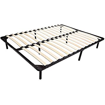 homcom queen size mattress wood slat platform bed frame