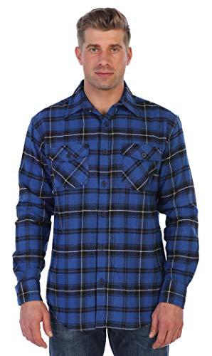 Gioberti Men's Flannel Shirt, Royal Blue/Black / White Contrast Lines, Size Large