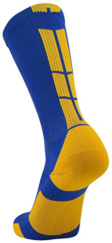Tck Sports Elite Performance Crew Socks  Royal Gold  Large
