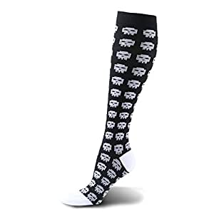 (L-XL, 1 Pair,Skull Pixels) - HLTPRO Compression Socks for Women & Men 20-30 mmHg - 1 to 6 Pairs Compression Stockings Best for Running, Crossfit, Travel, Nurse, Maternity Pregnancy