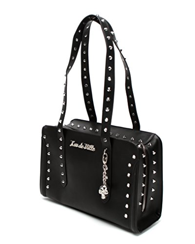 Lux De Ville Troublemaker Purse Tote Small Black Matte pointed studs (De Lux Ville Purses)