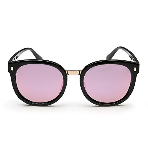ROCKNIGHT Polarized Fashion Oval Full Frame Purple Mirrored Lens Sunglasses with Metal Rivets UV Protection #370-3 - Nice Sunglasses Cheap