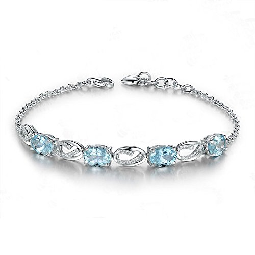 Natural Oval Cut Blue Aquamarine Bracelet Solid 14k White Gold Diamond Infinity Cuff ()