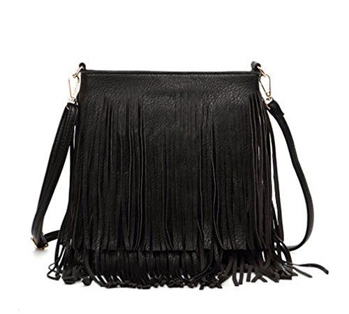 Black Leather Tassel Bag - 9