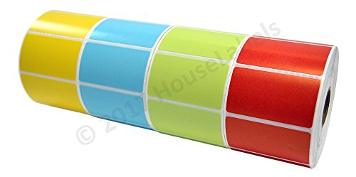 40 Rolls; 1,000 RED Blue Yellow Green 2.25