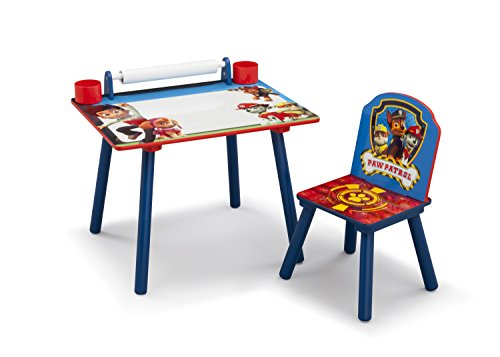PAW Patrol Art Desk with Dry-Erase Tabletop and Color Book Paper Roll, Nick Jr. by Delta Children
