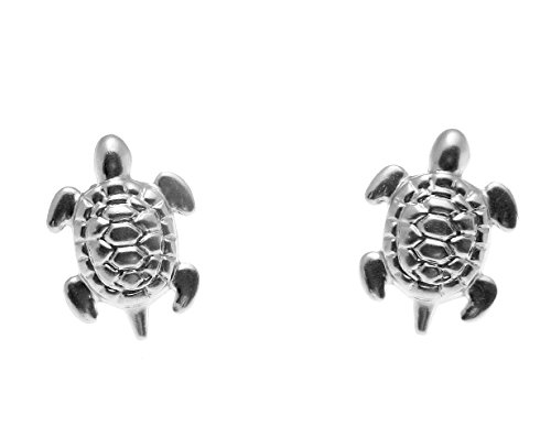 14K solid white gold small 8mm Hawaiian sea turtle honu stud post - Gold Turtle White