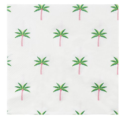 Cocktail Napkins - 150-Pack Luncheon Napkins, Disposable Paper Napkins Tropical Party Supplies for Kids Birthdays, 2-Ply, Palm Tree Design, Unfolded 13 x 13 inches, Folded 6.5 x 6.5 -