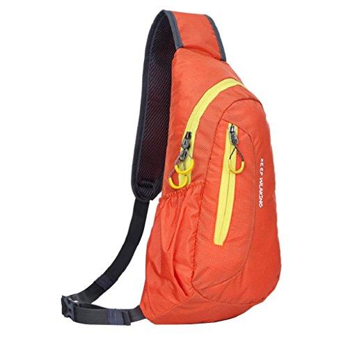 zhouba deportes al aire libre viaje senderismo pecho bolsa Casual bolsa bandolera senderismo Camping bicicleta bolsa, Red + Yellow Orange + Yellow