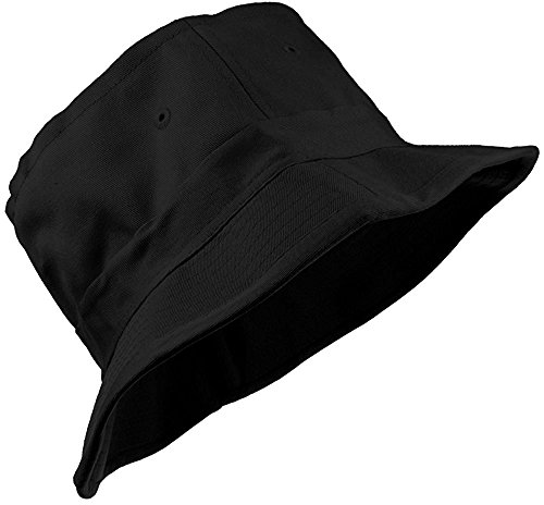 Enimay Unisex Printed Colored Bucket Hat Patterned Summer Sun Caps Solid Black Size S | M ()