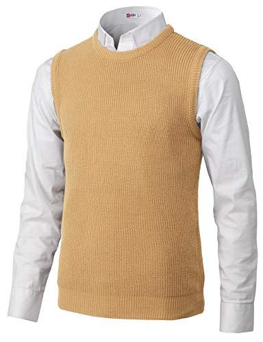 H2H Mens Slim Fit Basic Plain Knitted V-Neck Pullover Sweaters Vest Beige US M/Asia XL (KMOV185) - Cozy Striped V-neck Sweater