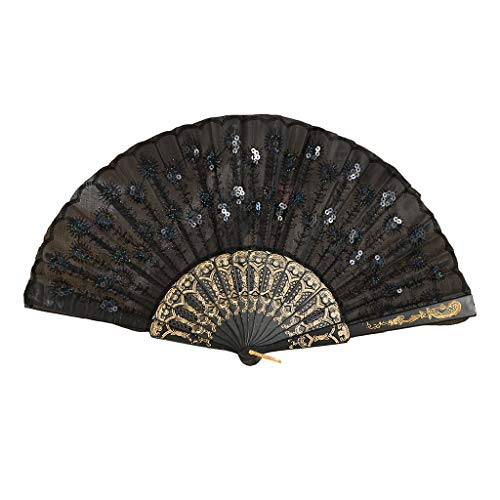 FEDULK Peacock Wind Folding Hand Held Silk Fans for Women Gifts Chinese/Japanese Vintage Retro Style(Black)